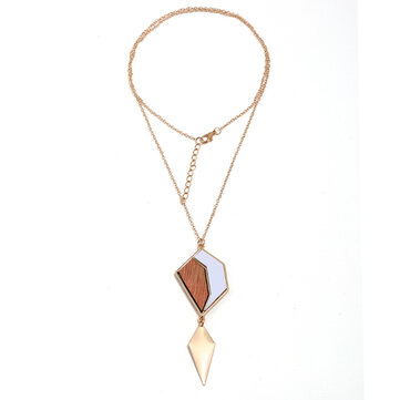 Fashion Geometric Drop Long Necklace Simple Wood Pendant Gold Chain Statement Necklace for Women