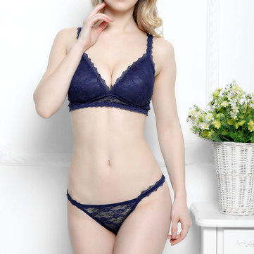 Sexy Deep V Lace Wire Free Ultra Thin Triangle Underwear Comfy Breathable Perspective Bra Sets