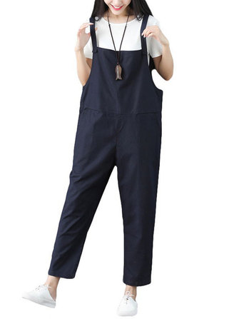 Women Casual Strap Cotton Harem Jumpsuit