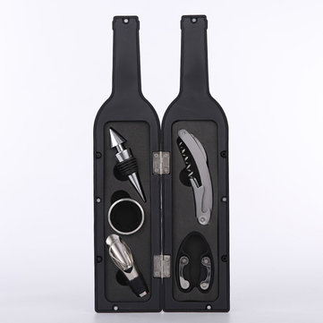 5Pcs Wine Bottle Opener Wine Bottle Shape Opener Pourer Corkscrew Foil Cutter Tools Set