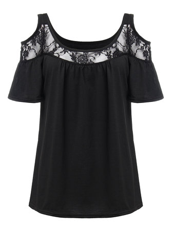Women Sexy Lace Patchwork Off Shoulder T-Shirt