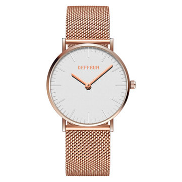 DEFFRUN DQ0004 Casual Style Mesh Stainless Steel Women Watch