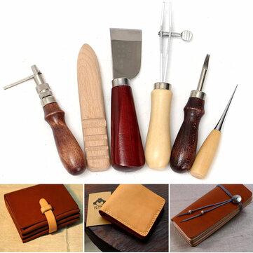 6pcs 나무 손잡이 가죽 공예 도구 키트 가죽 손 바느질 도구 펀치 커터 DIY 세트