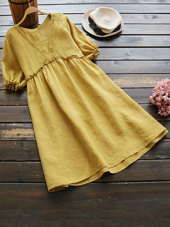 Women Short Sleeve Vintage Ruffled Blouse Cotton Mini Dress