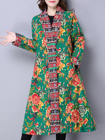 Women Floral Print Patchwork Thicken Long Sleeve Coats