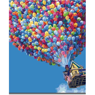 Buy Numbers Kit DIY Painting Oil Painting Frameless Picture Balloon House Drawing Wall Decor Gift 40x50cm for $9.99 in Banggood store