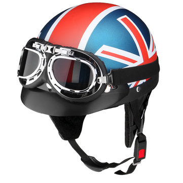 Motorcycle Open 3/4 Half Face Helmet With Goggles Sun Visor Adjustable