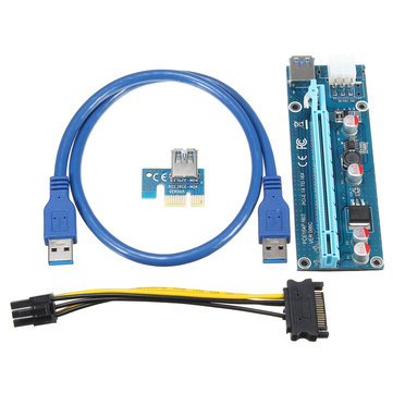 0.6m USB3.0 PCI-E Express 1x to16x Extender Riser Board Card Adapter SATA Cable Mining