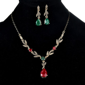Sweet Plants Leaf Drop Pendant Necklace Earrings Jewelry Set