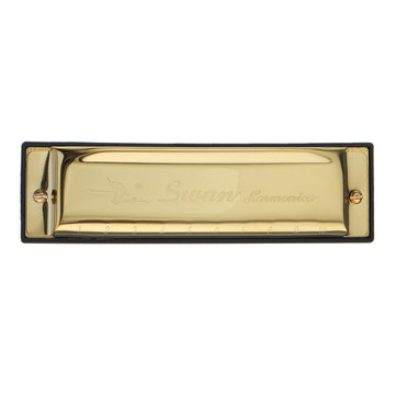 Swan SW1020-7 10 Holes 20 Tones C Key Gold Color Blues Harmonica
