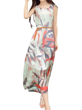 Mulheres elegantes mangas folha impressão vestido de festa chiffon maxi
