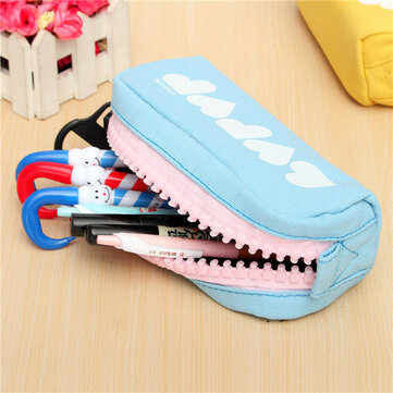 Pencil Case Large Zipper Pen Bag Makeup Cosmetic Pouch Stationery School