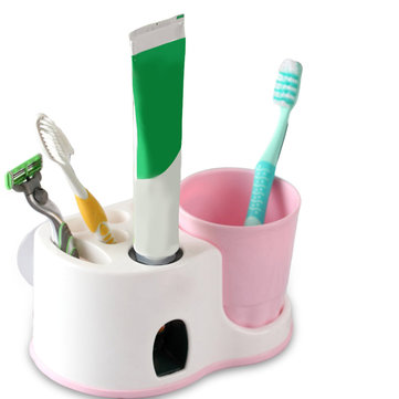 Honana Toothbrush Holder Automatic Squeeze Toothpaste Sucker Wash Suit Home Bath Set Bathroom Shelves Creative Toothbrush Holder Wash Suit Automatic Squeeze Toothpaste Sucker Home Toothpaste Bath Set