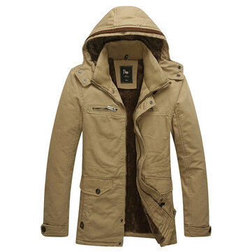 Men Winter Velvet Plus Outdoor Thick Warm Hooded Washed Outerwear Jacket