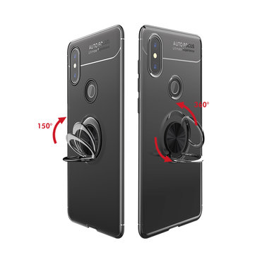 Bakeey 360° Adjustable Metal Ring Kickstand Magnetic PC Protective Case for Xiaomi Redmi Note 6 Pro