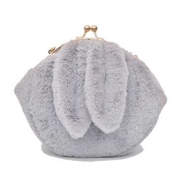 Cute Rabbit Plush Creative Shoulder Bag Phone Bag Chain Shell Crossbody Bags