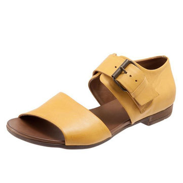 Large Size Rome Peep Toe Casual Buckle Flat Sandals