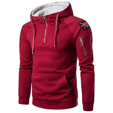Mens Fashion Zipper Collar Cashmere Hooded Sweater Casual Large Pocket Long Sleeve Hoodies