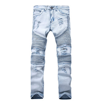 Мужская мода Casual мотоцикл Biker Pleat Straight Legs Ripped Джинсы Denim Брюки