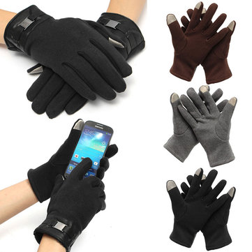 Mens Gloves Full Finger Smartphone Touch Screen Cashmere Gloves Mittens Winter