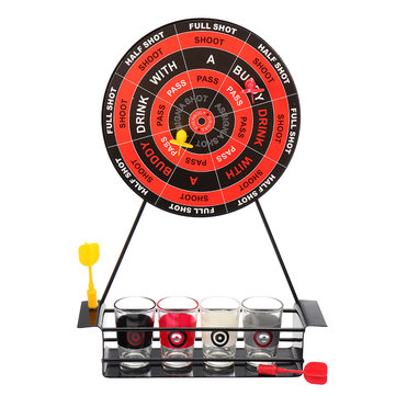 KCASA BT-500 Creative Mini Magnet Darts Toy Shot Set Party Entertainment Drinking Game with Glass Cups