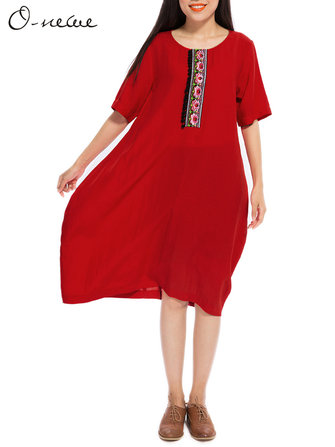 Buy O-NEWE L-5XL Women Ethnic Style Brief Embroidery Lantern Dress for $31.67 in Banggood store