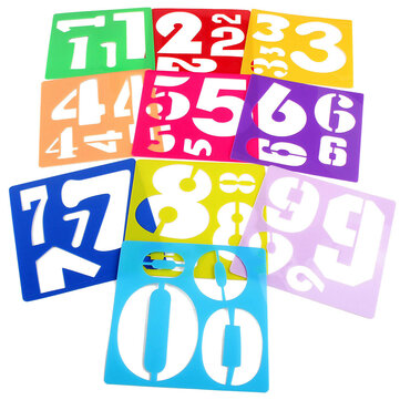 10Pcs Plastic Numbers Template Craft Drawing Painting Stencil Draft Ruler Set Board