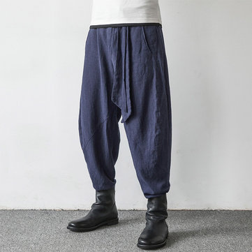 Mens Chinese Style Loose Cotton Harem Pants