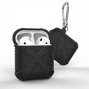 Bakeey Silicone Shockproof Dirtproof Protective Case With Hook For Apple AirPods