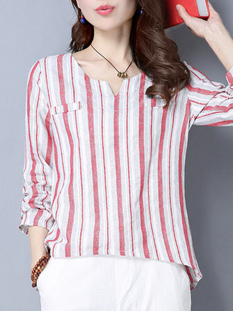 Women Long Sleeve Stripe Irregular Hem Spring T-shirts
