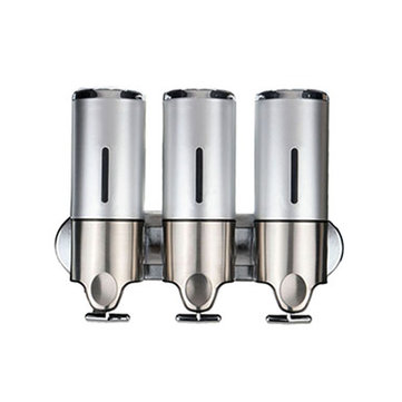3Pcs Wall Mounted Bathroom Lotion Shampoo Liquid Soap Dispenser Set Stainless Steel