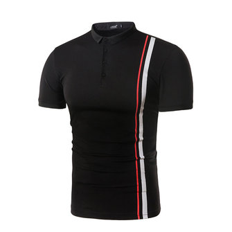 Men's Fashion Contrast Color Striped Printed Golf Shirt Casual Stand Collar Short-sleeved Tops