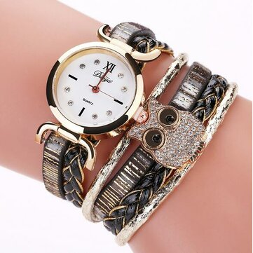 DUOYA DY114 Cute Style Owl Ladies Bracelet Gift Watch