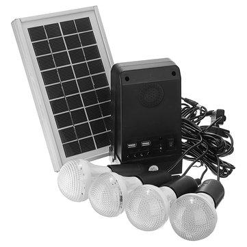 3W Solar Panel Solar Powered System 7.4V 2200mAH Lithium Battery Controller with 4 LED Bulbs