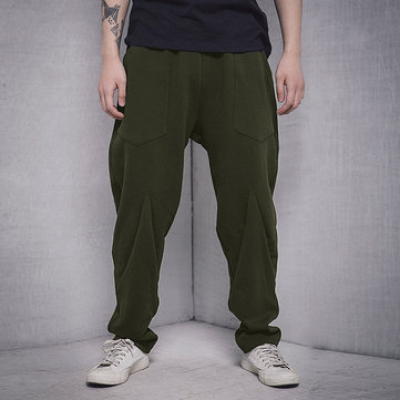 Mens Loose Solid Color Casual Pants