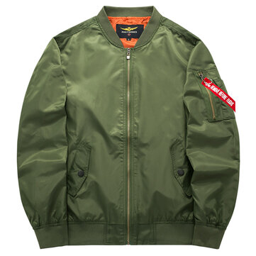 Mens Spring Autumn Flight Jacket Pure Color Bomber Jacket