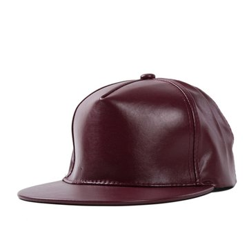 Unisex Women Men Artificial Leather PU Baseball Cap Adjustable Flat Snapback Hip-hop Hat