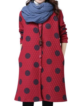 Winter Warm Fashion Women Polka Dot Printed Trench Coat