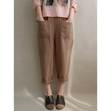 Women Casual Linen Cotton Elastic High Waist Harem Pants