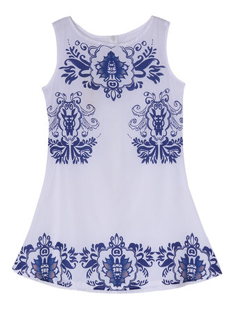 Sem mangas impressa mulheres brancas floral boémio mini-vestido