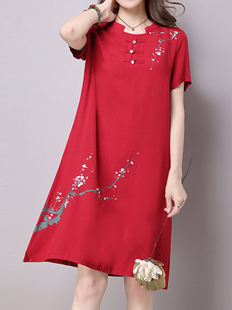 Vintage Women Printed Short Sleeve O-Neck Dresses