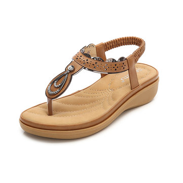 Women Metal Summer Casual Beach Flat Sandals