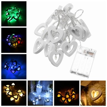 2.2M 20LEDs Wooden Heart-Shaped Warm White White Multicolor Yellow Green Blue LED String Light
