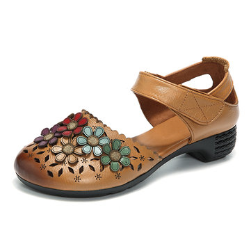 SOCOFY Handmade Flower Pattern Sandals