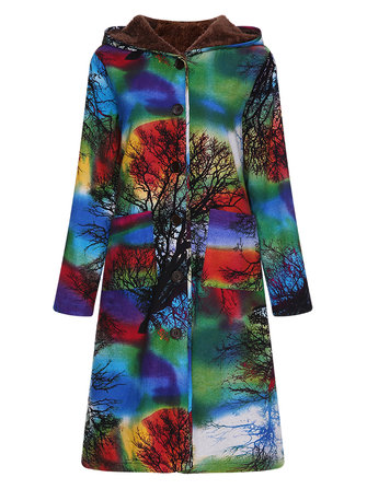 Vintage Women Printed Long Sleeve Fleece Lined Hooded Coats