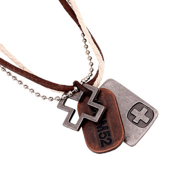 Unisex Hemp Rope Punk Necklace Cross Hangtag Pendants Multilayer Necklace