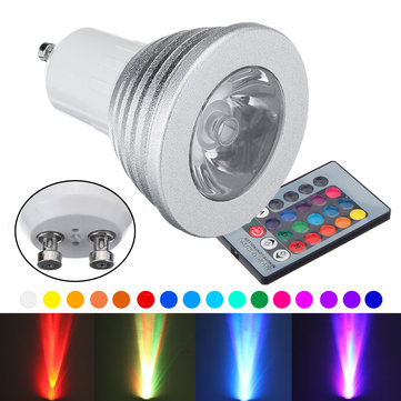4PCS GU10 3W Dimmable 16 Color Changing RGB Spotlight Remote Control LED Bulb AC90-260V