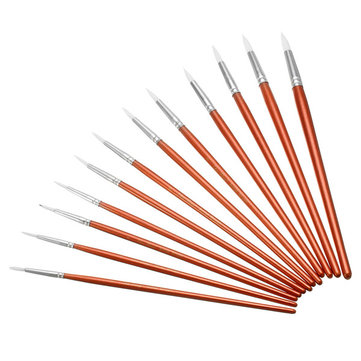 12pcs Red Wooden Painting Brushes Set Acrylic Artist Oil Watercolor Paint Tool