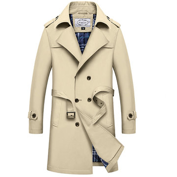 Mens Winter Thick Double Breasted Trench Coat Turn-down Collar Slim Fit Overcoat