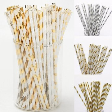 Buy 25Pcs Colourful Vintage Striped Dot Paper Drinking Straws Party Wedding Supplies for $2.79 in Banggood store